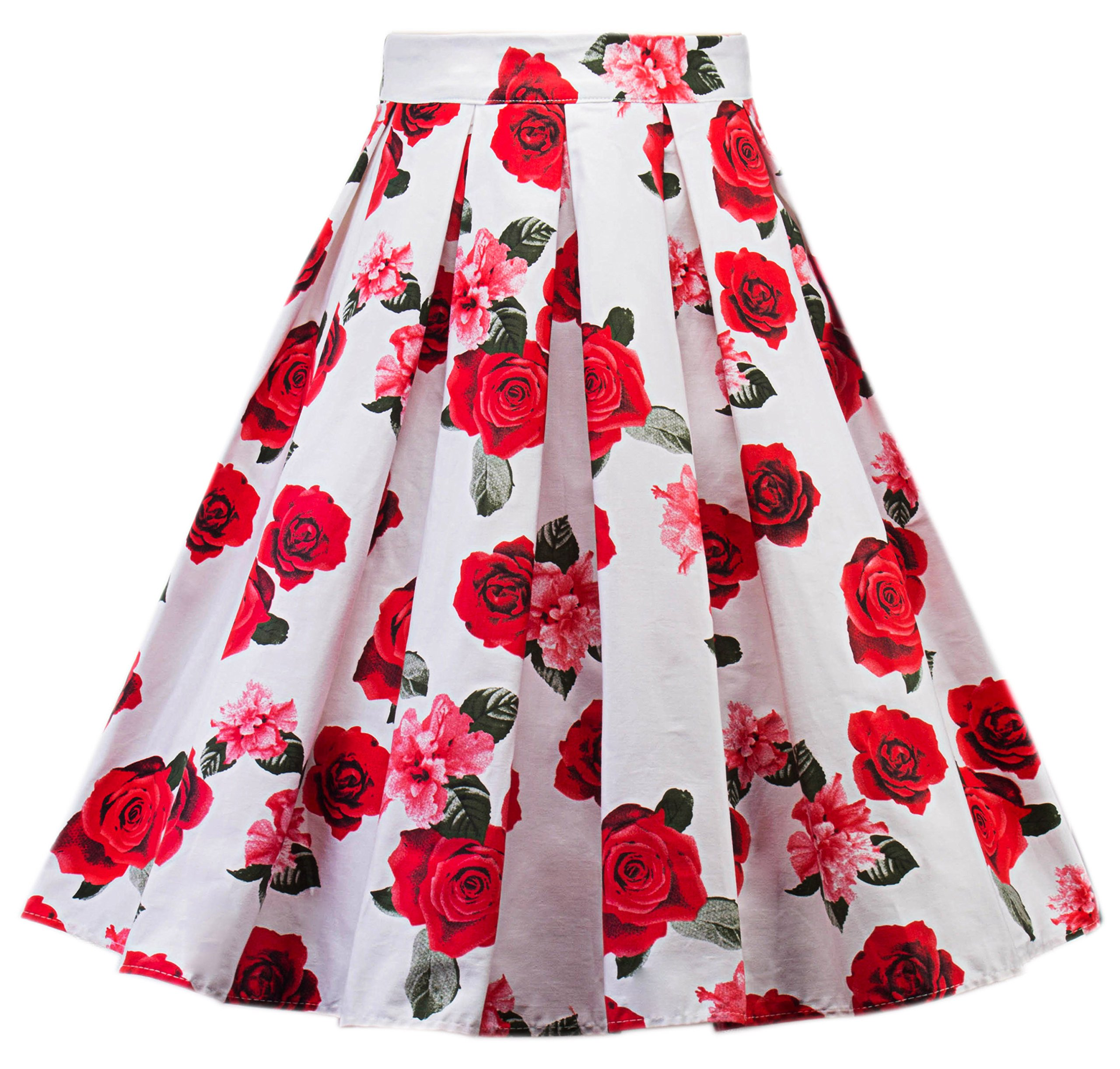 TINTAO Women's A-Line Floral Printed Pleated Flared Party Midi Skirts Dr05 (Floral, X-Large)