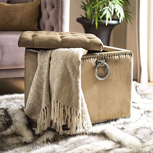 Ambesonne Moroccan Ottoman Pouf, Patchwork Style Vintage Ottoman Inspiration Retro Motifs, Decorative Soft Foot Rest with Removable Cover Living Room and Bedroom, Brown Blue