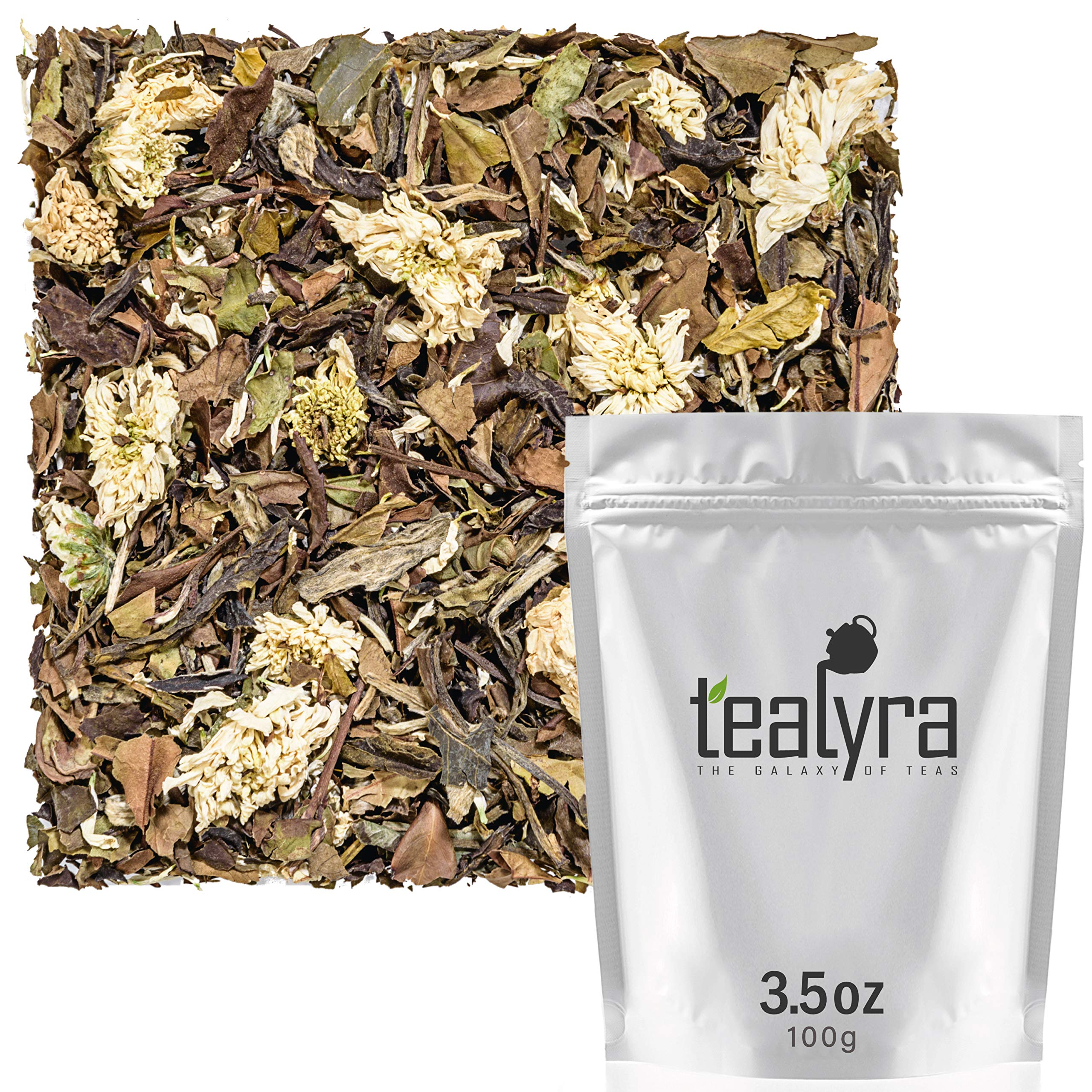 Tealyra - White Chrysanthemum Infusion - White Peony Tea and Chrysanthemum Blossoms - Loose Leaf Tea Blend - High in Antioxidants - All Natural - Healthy - Caffeine Low - 100g (3.5-ounce) by Tealyra
