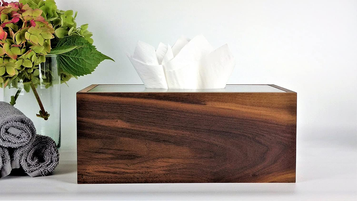 Tissue Box Cover Wood / Concrete Tissue Box Cover / Rectangular Kleenex Tissue Box Cover Wood / Neutral Decor / Bathroom Organization / Bath