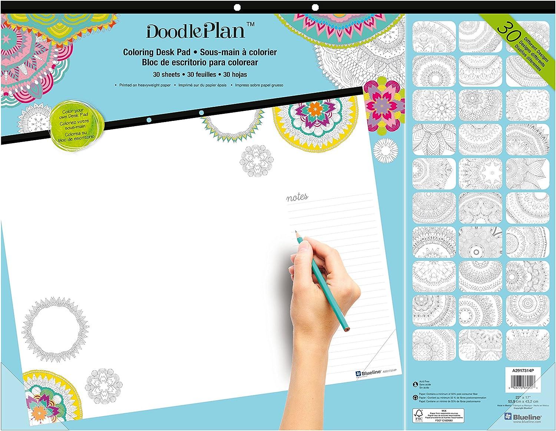 Blueline DoodlePlan Coloring Desk Pad, Mandala Design, 22 x 17 inches (A2917314P)