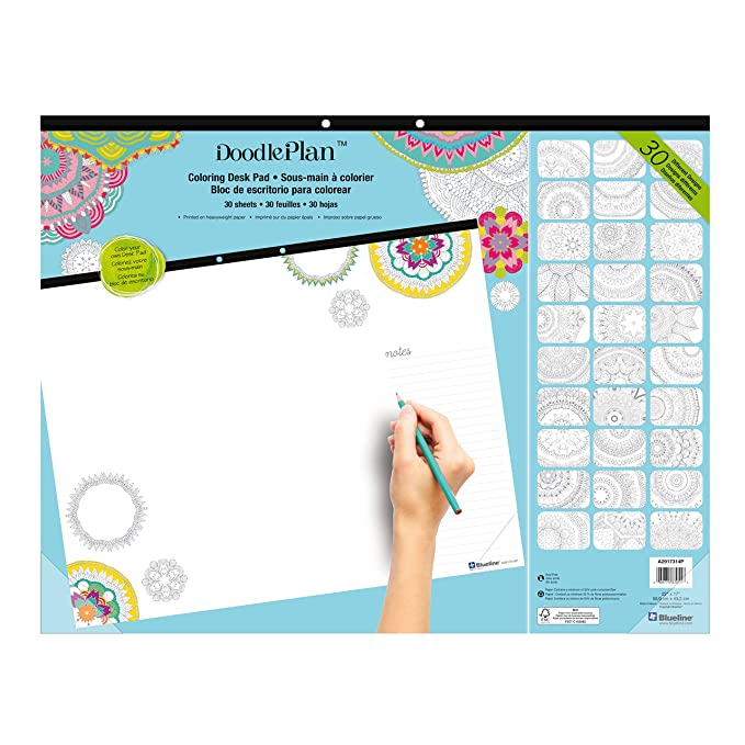 Amazon.com : Blueline DoodlePlan Coloring Desk Pad, Mandala Design ...