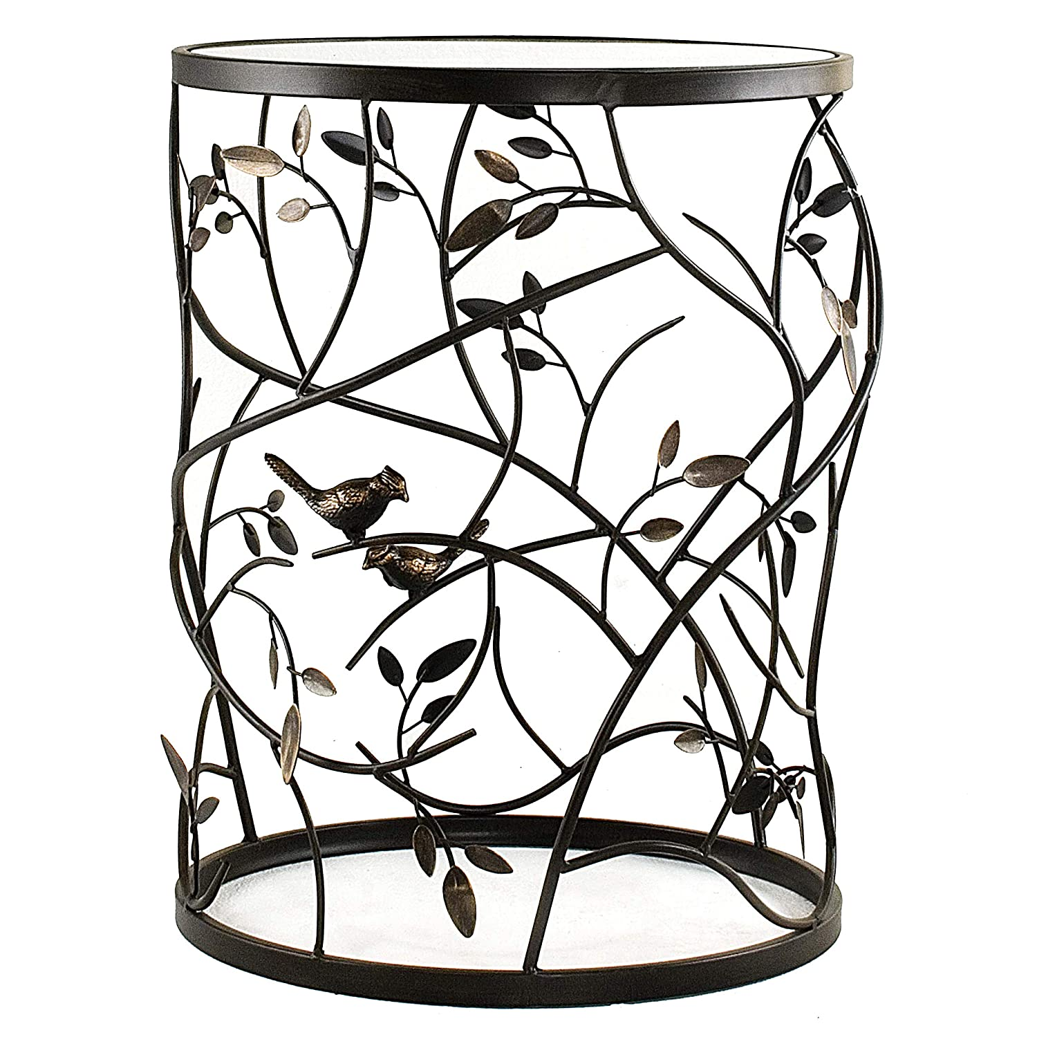 FirsTime Co. BTGLVS-L Antique Bronze Large Bird and Branches Side Glass Tabletop Accent Table, 22 H x 16.5 W x 16.5 D, Aged