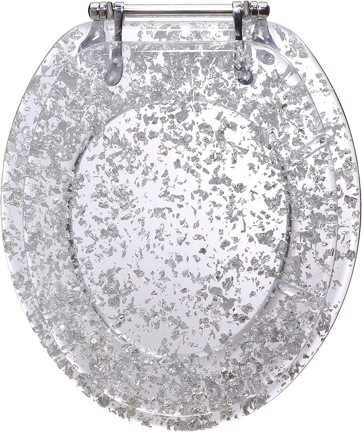 GinseyElongated Resin Toilet Seat Chrome Hinges, Silver Foil