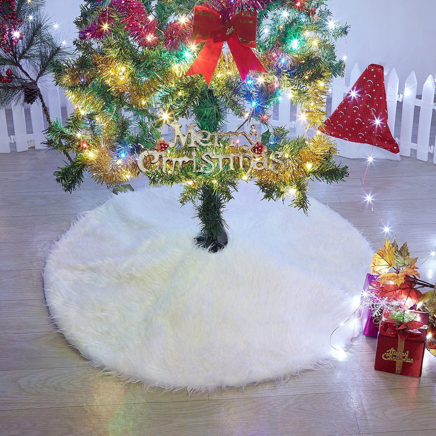 Marry Acting Luxury Faux Fur Christmas Tree Skirt 36 inches Soft Snow White Tree Mat Christmas Decorations Xmas Holiday Tree Skirts