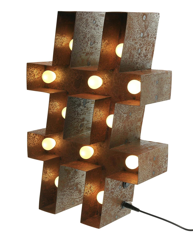 Marquee Lights Symbol # Raute  Hashtag rostig mit LED Beleuchtung in 15  3V mit elektronischem Vorschaltger/ät Metall