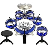 Velocity Toys 11 Piece Children's Kid's Musical Instrument Drum Play Set w/ 6 Drums, Cymbal, Chair, Kick Pedal, Drumsticks (Blue)