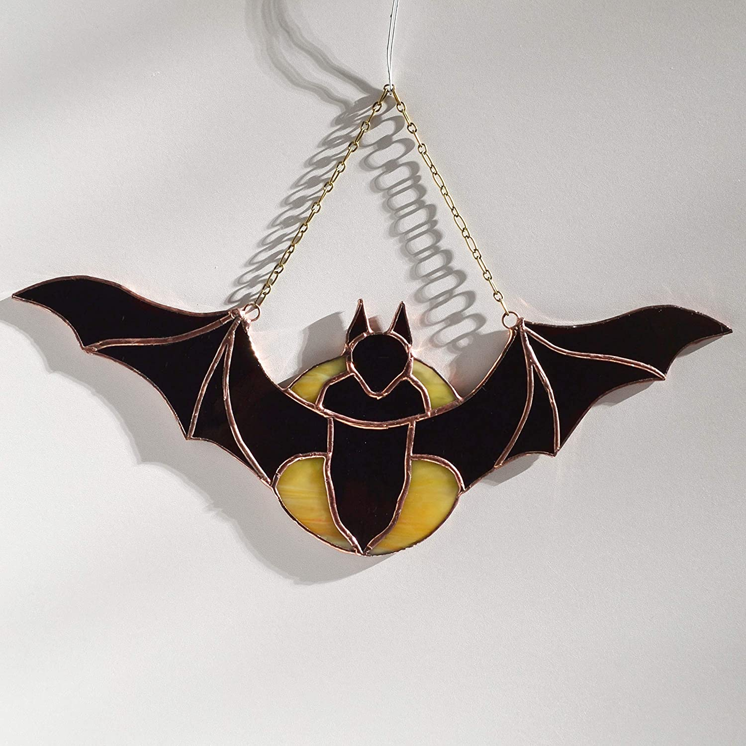 Stained Glass Flying Bat over Moon Panel for Window Hanging or Wall Decor Halloween Decor Scary