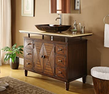 Elegant 48u0026quot; Verdana Vessel Sink Bathroom Vanity   Faucet U0026 Vessel All  Inclusive ...