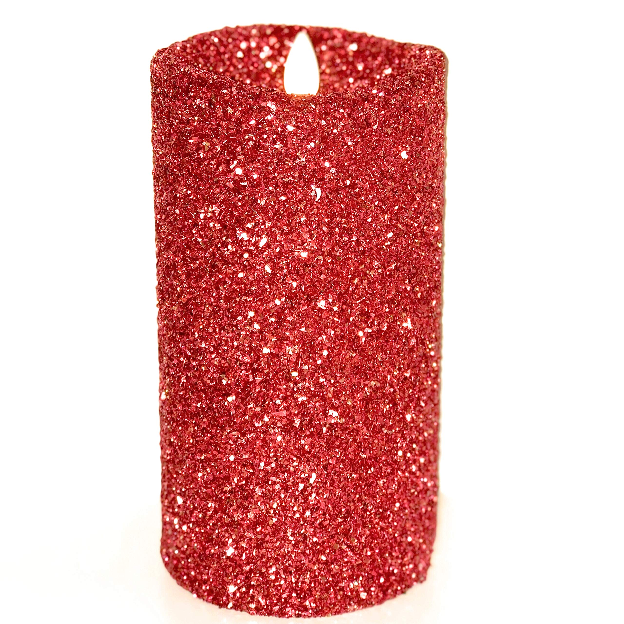 Luminara Vintage Red Glitter 5'' Flameless Pillar Candles w/Remote by Luminara