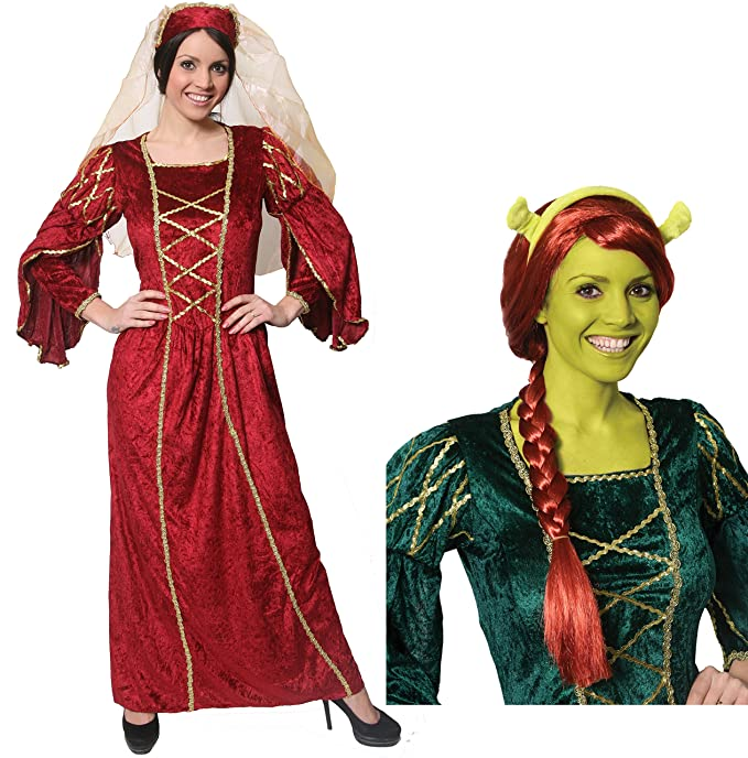 LADIES FIONA EARS + PRINCESS DRESS IN RED OR GREEN + RED PLAITED WIG +  GREEN FACE PAINT FANCY DRESS COSTUME LICENSED SHREK FIONA EARS MEDIEVAL  OGRE ...