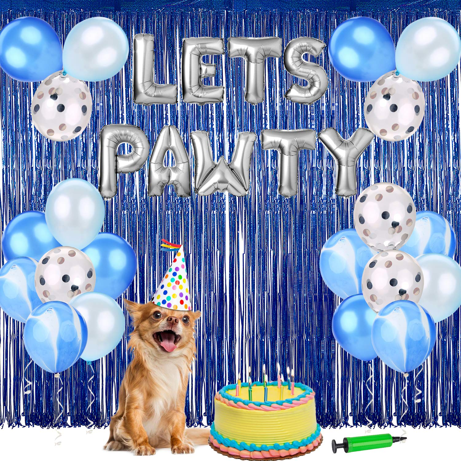 Dog Birthday Party Supplies,Pet Birthday Decorations Set, Lets Pawty Balloons,Happy Birthday Banner, Confetti Balloons for Pet Party Decoration Set (Blue)