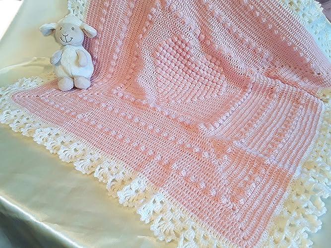 Copertina Neonato Neonata Rosa Cuore Uncinetto Amazonit Handmade