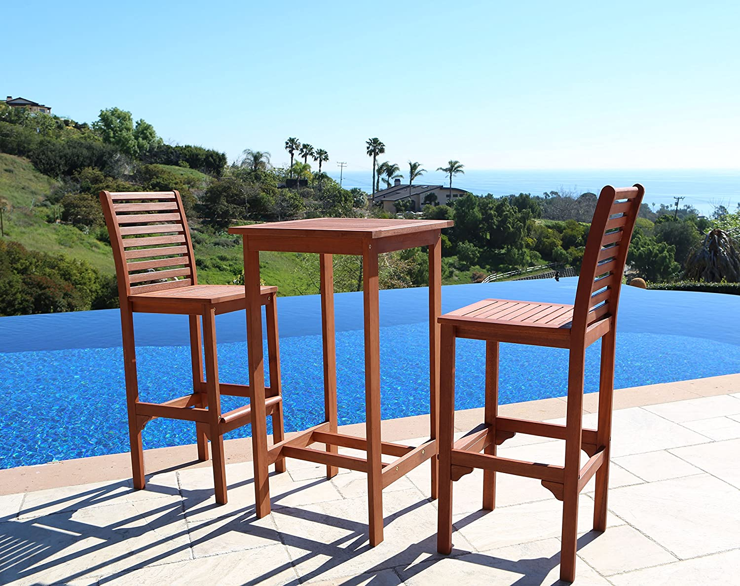 Amazon.com : VIFAH V495SET1 Dartmoor Outdoor 3 Piece Wood Bar Set With Bar  Table And 2 Bar Chairs : Outdoor And Patio Furniture Sets : Garden U0026 Outdoor
