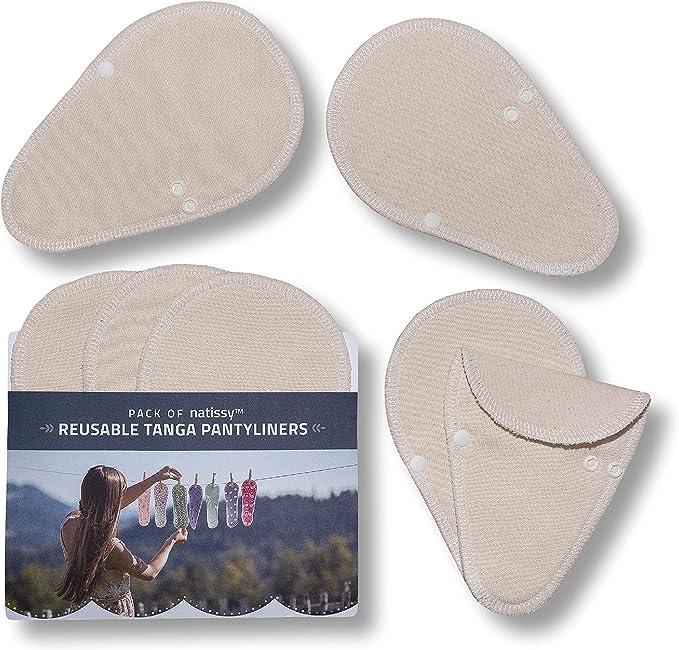 Salvaslips de tela reutilizables TANGA, 7-Pack THONG Protege Slips de algodón ORGÁNICO, HECHAS EN LA UE, Compresas Ecológicas sin PUL, Toallas para ...