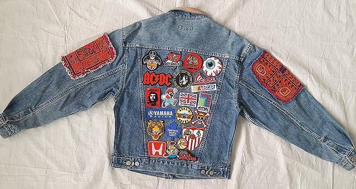 Amazon com: Hand Reworked Vintage Jean Jacket Leather Collar