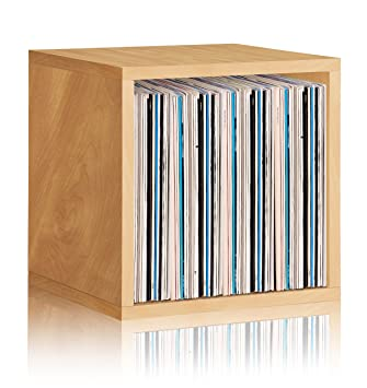 Vinyl Record Storage Cube Extra Large Stackable LP Record Album Shelf,  Natural
