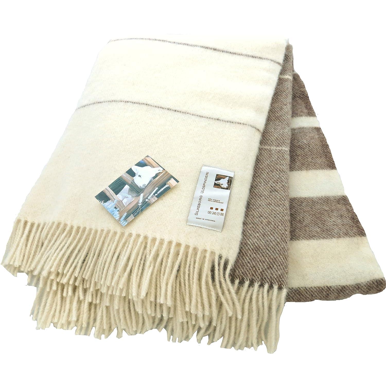 Extralange creme-hellbraun gestreifte Wolldecke aus 50% Alpaka und 50% Schurwolle, ca 240x140cm 1100g