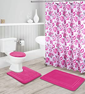 Kids Zone Home Linen Hot Pink 16pc Bathroom Accessory Set - Non-Slip Bath Mat, Non-Slip Contour Mat, Toilet Lid Cover and Waterproof Shower Curtain with Rustproof Metal Roller Hooks