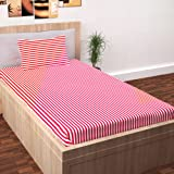 Story@Home Single Bedsheet for Single Bed with 1 Pillow Cover Combo Set - 100% Cotton - Spark Series, 208 TC, Stripes (Pink - White)