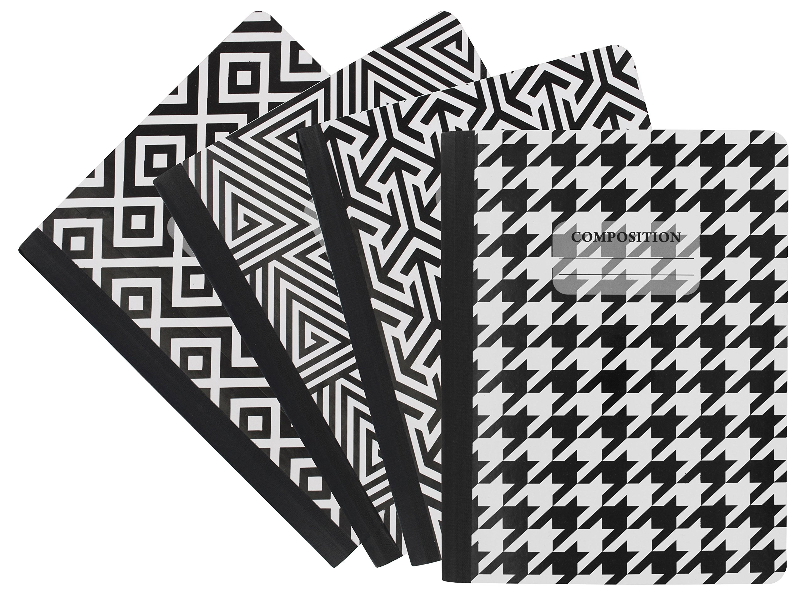 Emraw Black & White 4 Fashion Styles Cover Composition Book with 100 Sheets of Wide Ruled White Paper - Set Includes All Style Covers (4 Pack)