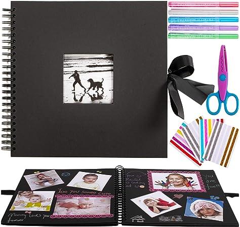 Álbum de fotos para álbumes de recortes Inicia, 80 páginas, kit con 5 bolígrafos metálicos, tijeras y 216 esquinas de fotos más 2 rollos de cintas de encaje, perfecto para regalos o