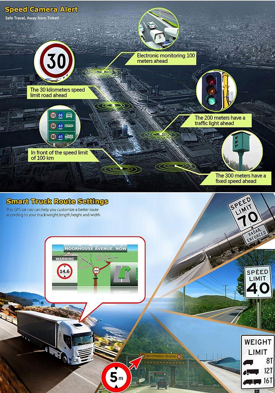 Xgody 886truck Syst/ème de Navigation GPS pour Voiture 17,8/cm /Écran Tactile capacitif 8/Go de ROM GPS Navigator avec cartographie /à Vie mises /à Jour D/étaill/ées /Étape par /Étape