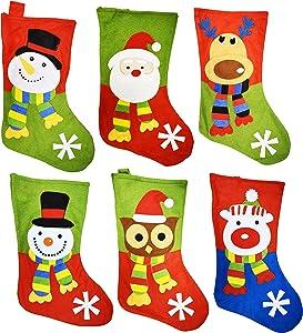 "Set of 6 Christmas Stockings! 18"" Santa, Snowman, Reindeer, Polar Bear, Owl Christmas Holiday Stockings with Hanging Tag"