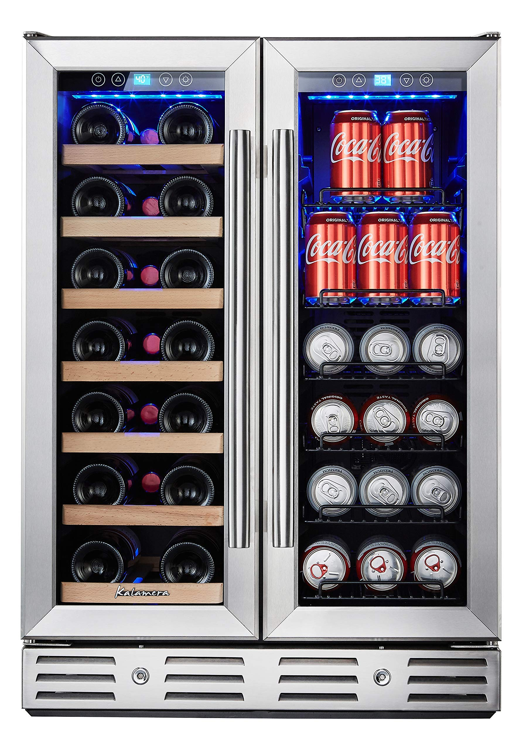 Kalamera 24'' Beverage and Wine Cooler Dual Zone Built-in and Freestanding with Stainless Steel Door by Kalamera