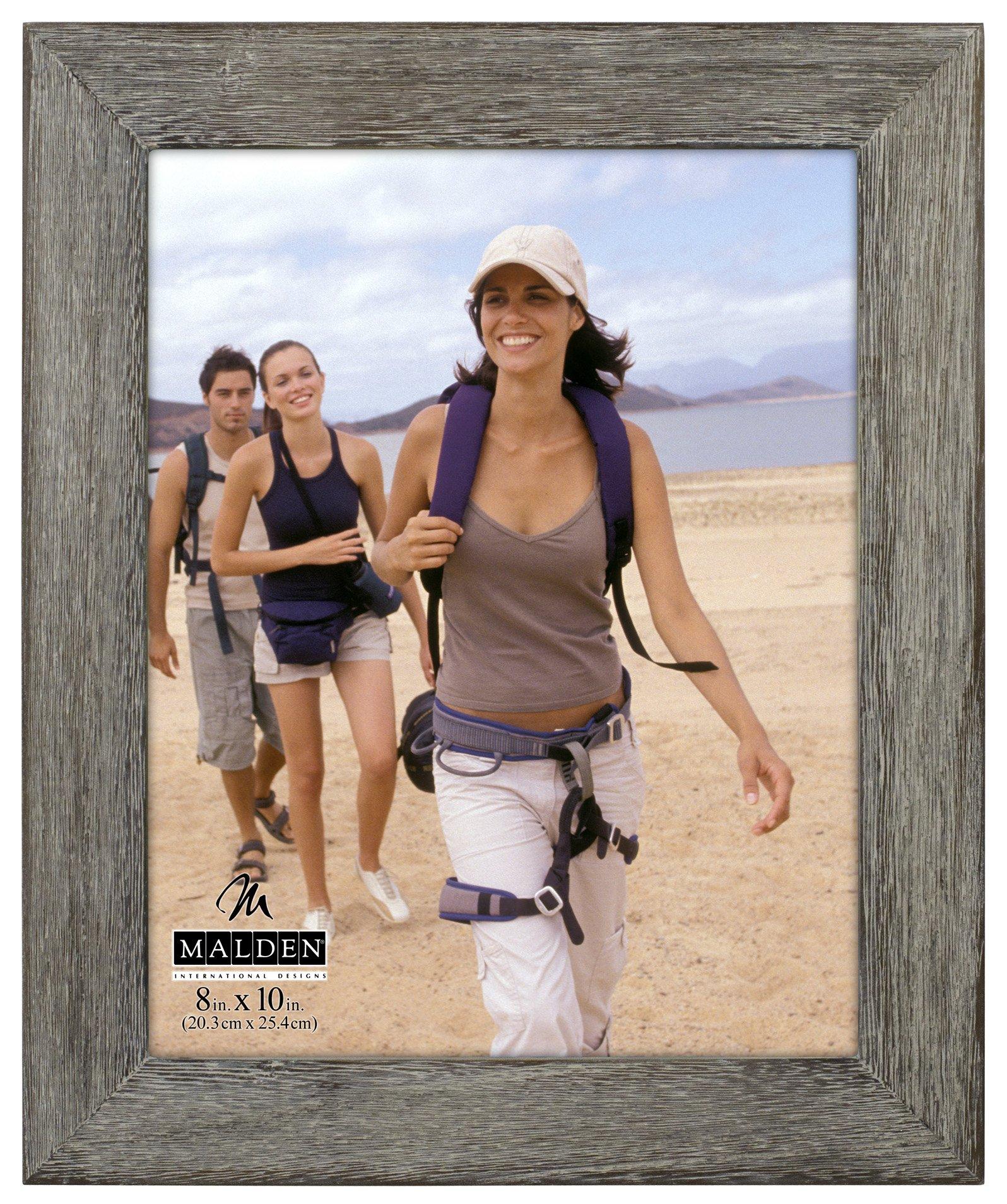 Malden International Designs Rustic Fashion Wide Linear Graywash Wooden Picture Frame, 8x10, Gray by Malden International Designs