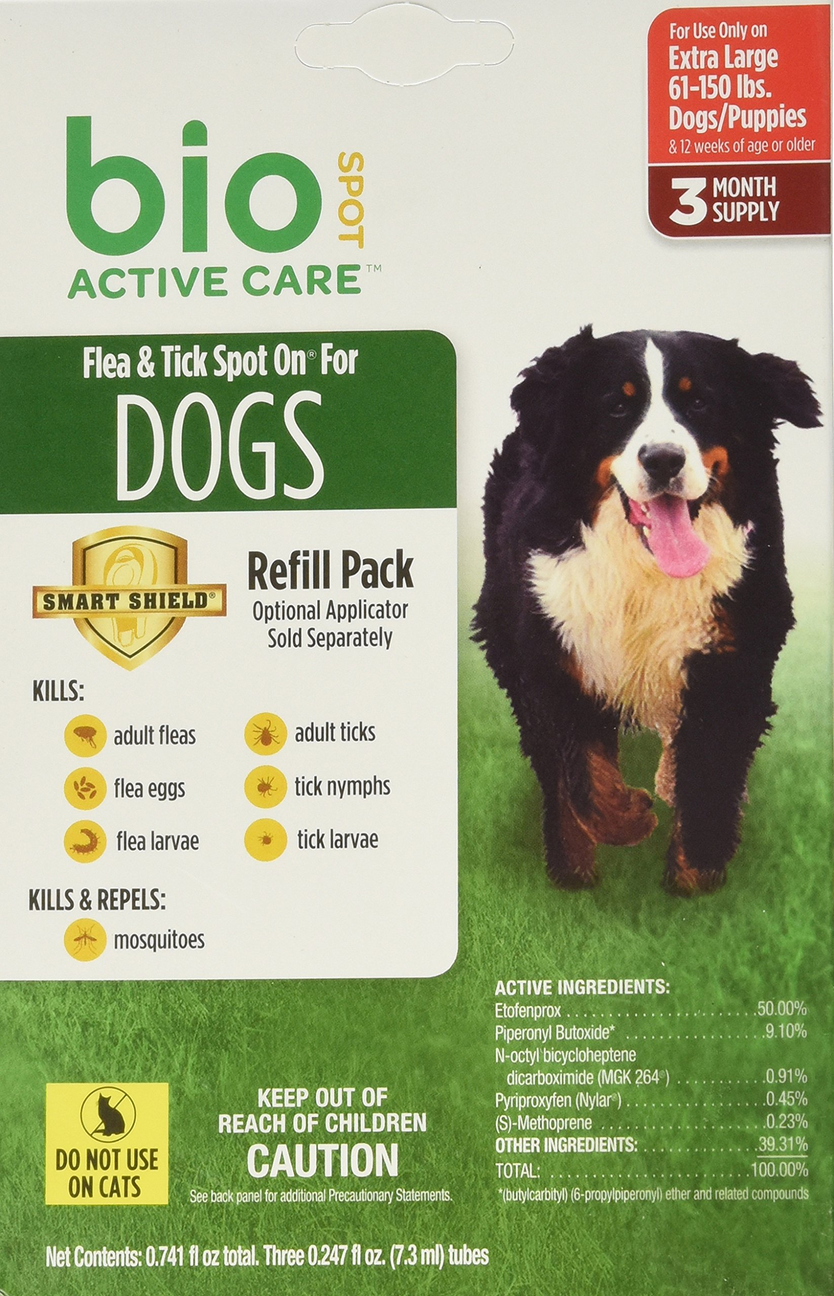 Bio Spot Active Care Flea & Tick Spot On for Extra Large Dogs (61-150 lbs.) 3 Month Refill