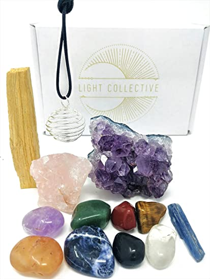 TIME TO ALIGN Healing Crystals For Chakra Balancing / 13 Piece Crystal  Healing Set Includes Amethyst Cluster, Raw And Tumbled Stones, And Crystal