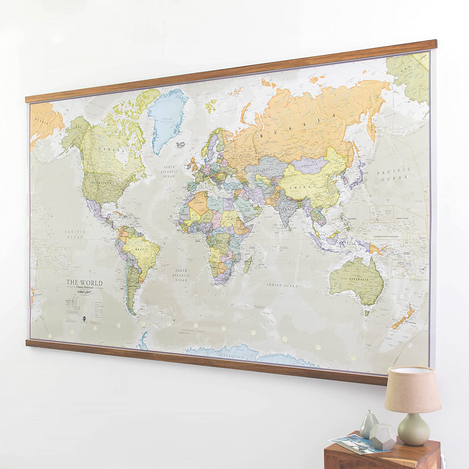 A0 Size 84.1 x 118.9 cm Paper Laminated World Map with Flags
