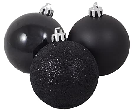 pack of 10 50mm black christmas tree baubles in shiny matte glitter - Black Christmas Decorations