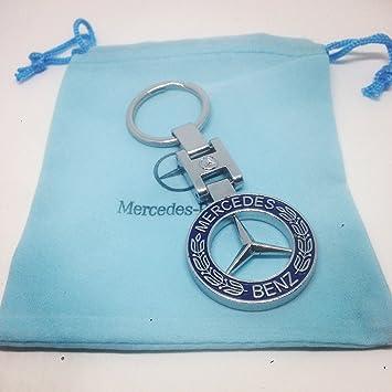 Llavero Mercedes Benz de cromo con emblema de laurel azul ...