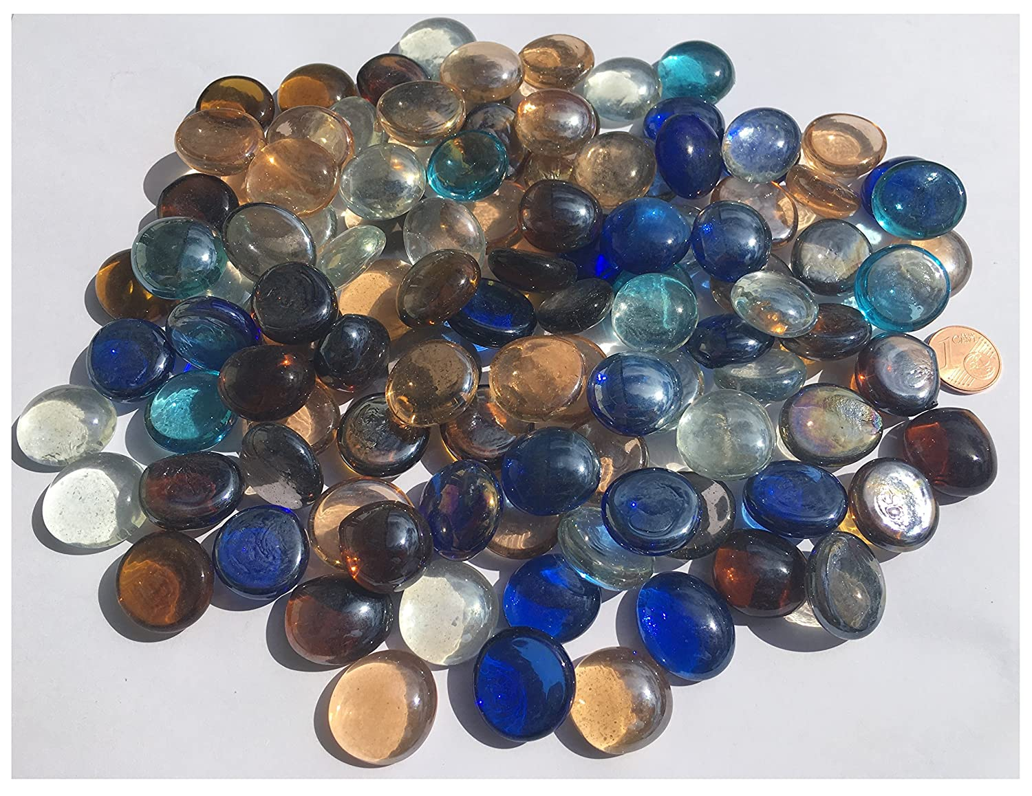Stones Nuggets 50 x Mixed Colour Round Glass Pebbles