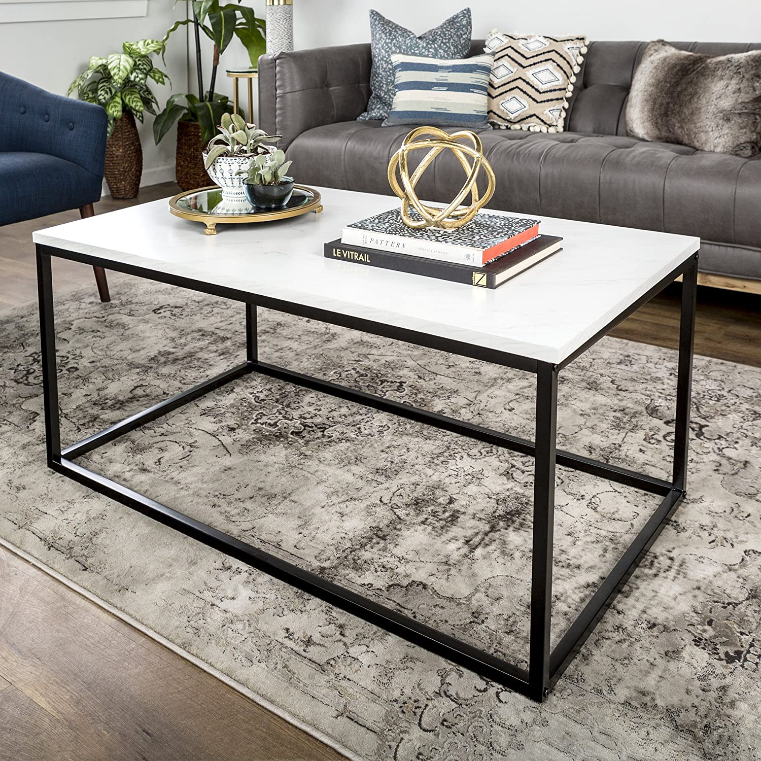 Amazon com we furniture 42 mixed material coffee table marble kitchen dining