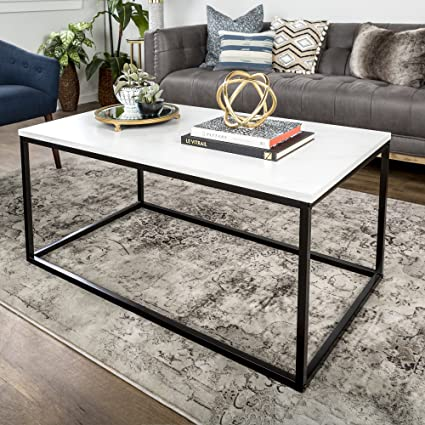 Amazon Com We Furniture 42 Mixed Material Coffee Table Marble