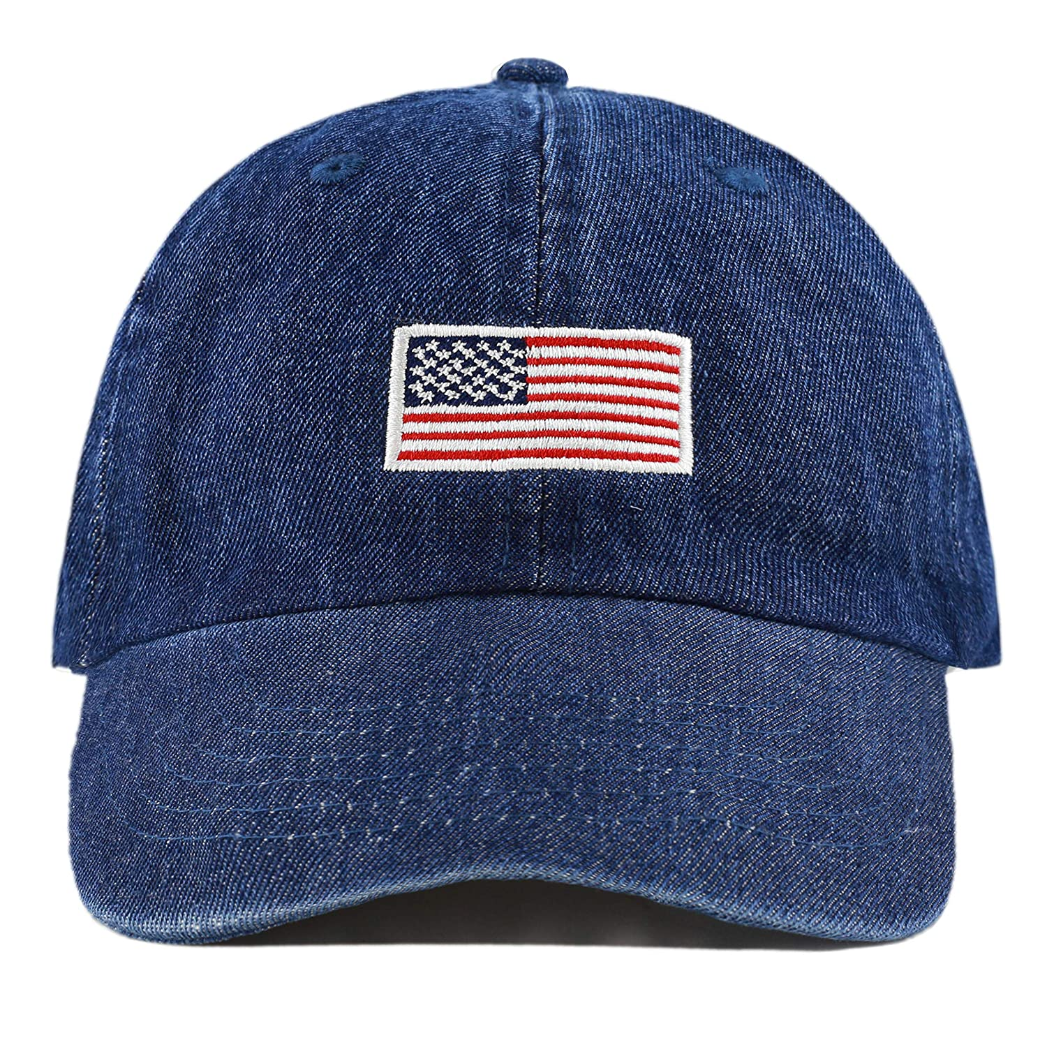 9d2c363acaa63c The Hat Depot Washed 100% Cotton Dad HAT Flag Low Profile Adjustable Baseball  Cap (Flag - Dark Denim) at Amazon Women's Clothing store: