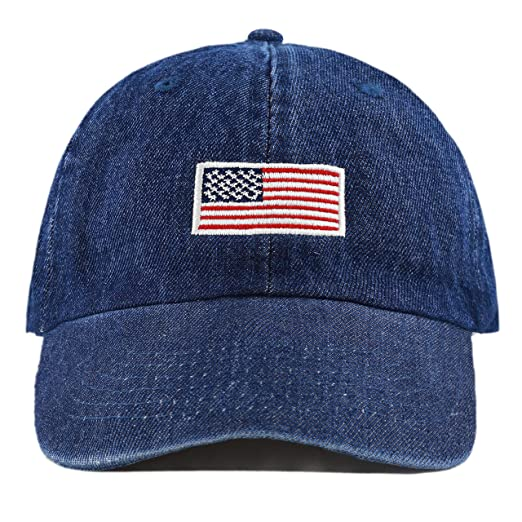 f8e9f75bfb203 The Hat Depot Washed 100% Cotton Dad HAT Flag Low Profile Adjustable  Baseball Cap (