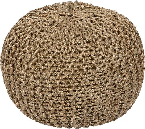 Artistic Weavers 100-Percent Jute Pouf, 20-Inch by 20-Inch by 14-Inch, Beige