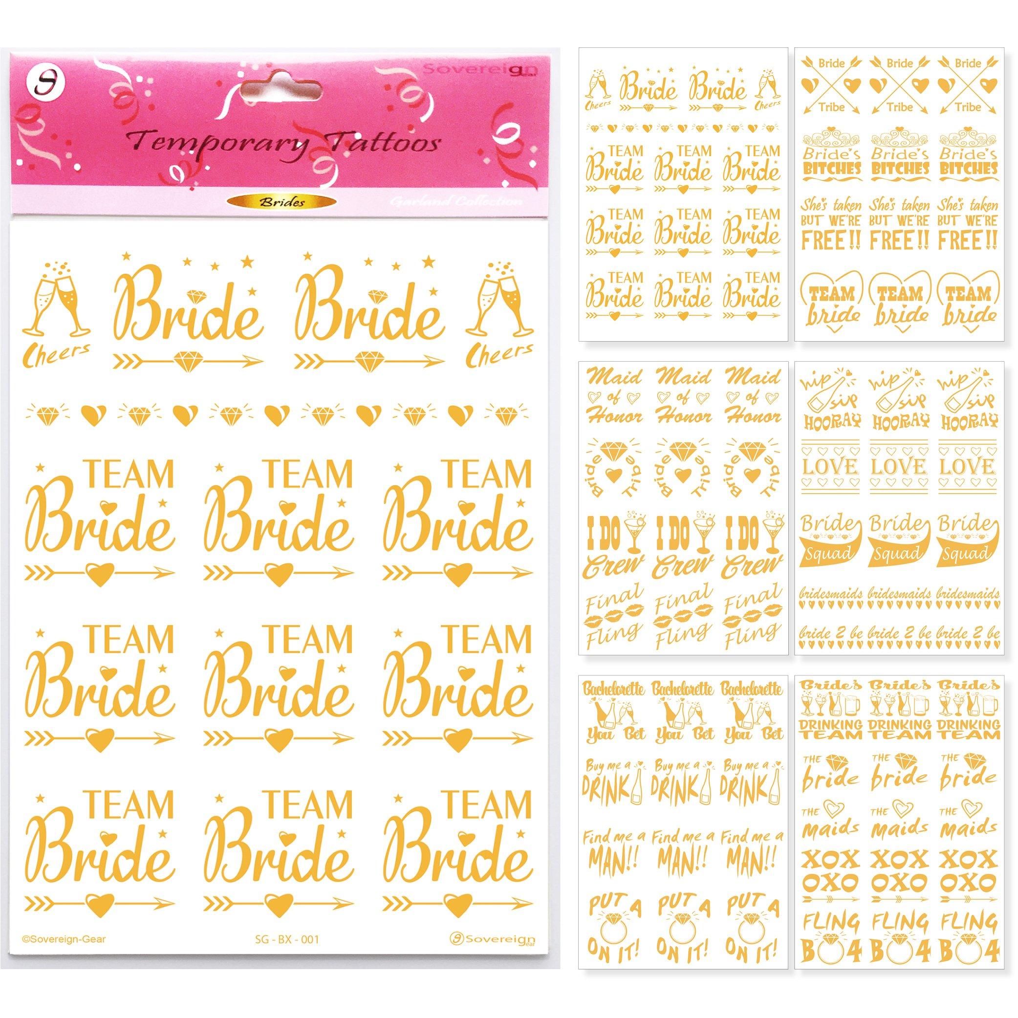 6 gold team bride tattoos hen party bride to be