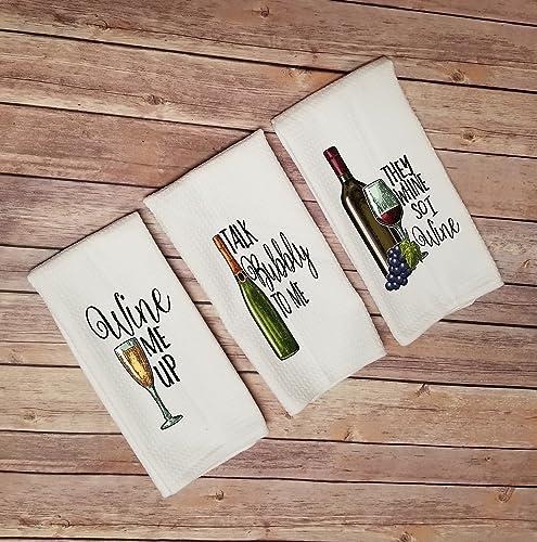 Amazon Com Funny Wine Kitchen Towels Handmade