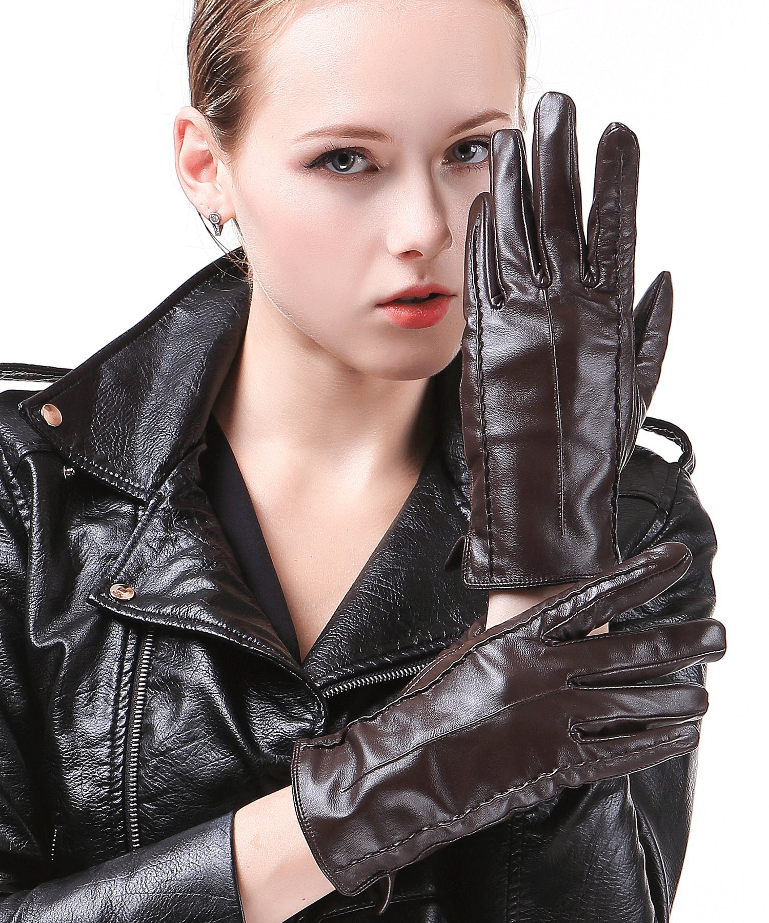 Harrms Best Luxury touchscreen Italian Nappa Genuine Leather Gloves for women's Texting Driving Cashmere Lining