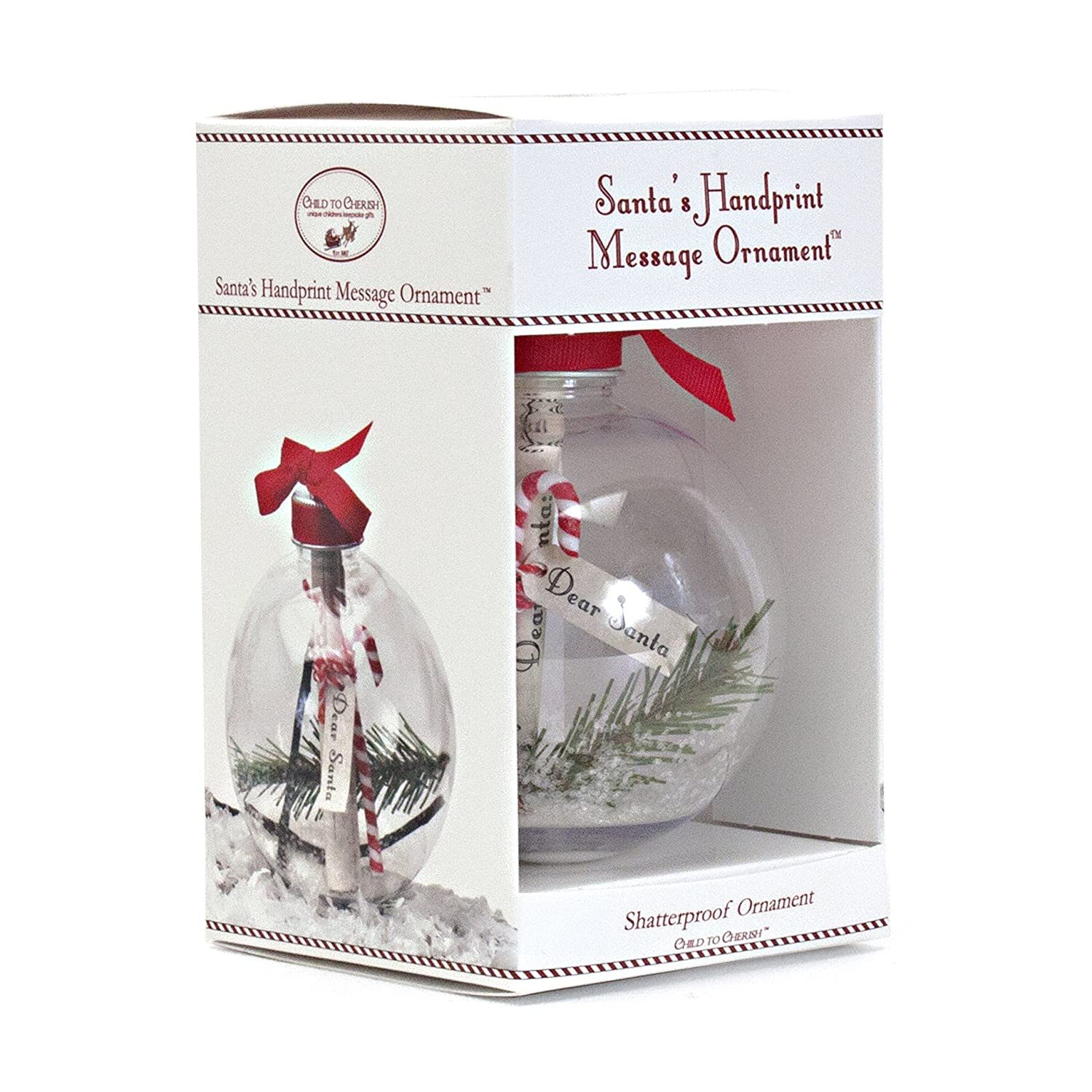 Child to Cherish Santa's Message Baby Handprint Christmas Ornament Kit, Clear