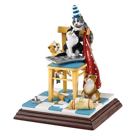 Enesco A25212 Comic & Curious - Figura decorativa de gatos con silla diseño de Linda Jane