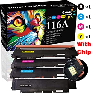 4-Pack ColorPrint Compatible HP 116A W2060A W2061A W2062A W2063A Toner Cartridge for Color Laser MFP178nw 179fnw 150A 150nw Printer (BK+C+M+Y), by ColorPrint
