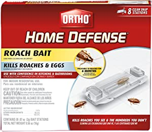 Ortho 0464912 Defense Roach Bait-Kills Cockroaches & Eggs in Your Home, Palatable for 6 Months, Includes 8 Individual Stations