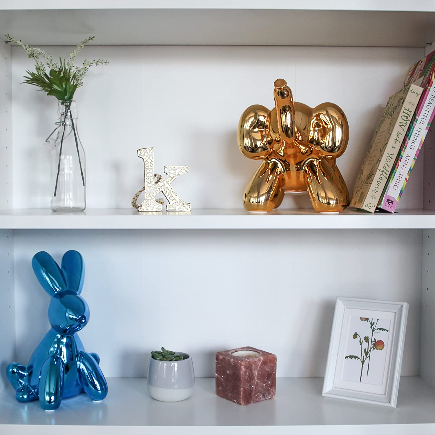 Blue Cool and Unique Ceramic Piggy Bank with High-Gloss Finish Made By Humans Balloon Bank Bunny