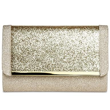 432b25a202244 CASPAR TA345 Damen elegante XL Glitzer Clutch Tasche Abendtasche mit  Metallspange
